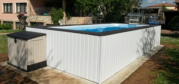 Piscine fuori terra con rivestimento personalizzato piscine da terrazzo e giardino jacuzzi - Giardino con piscina fuori terra ...