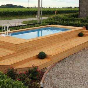 Rivestimenti in legno per piscina fuoriterra   Piscine, da terrazzo ...