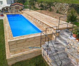 piscina fuoriterra in legno di pino